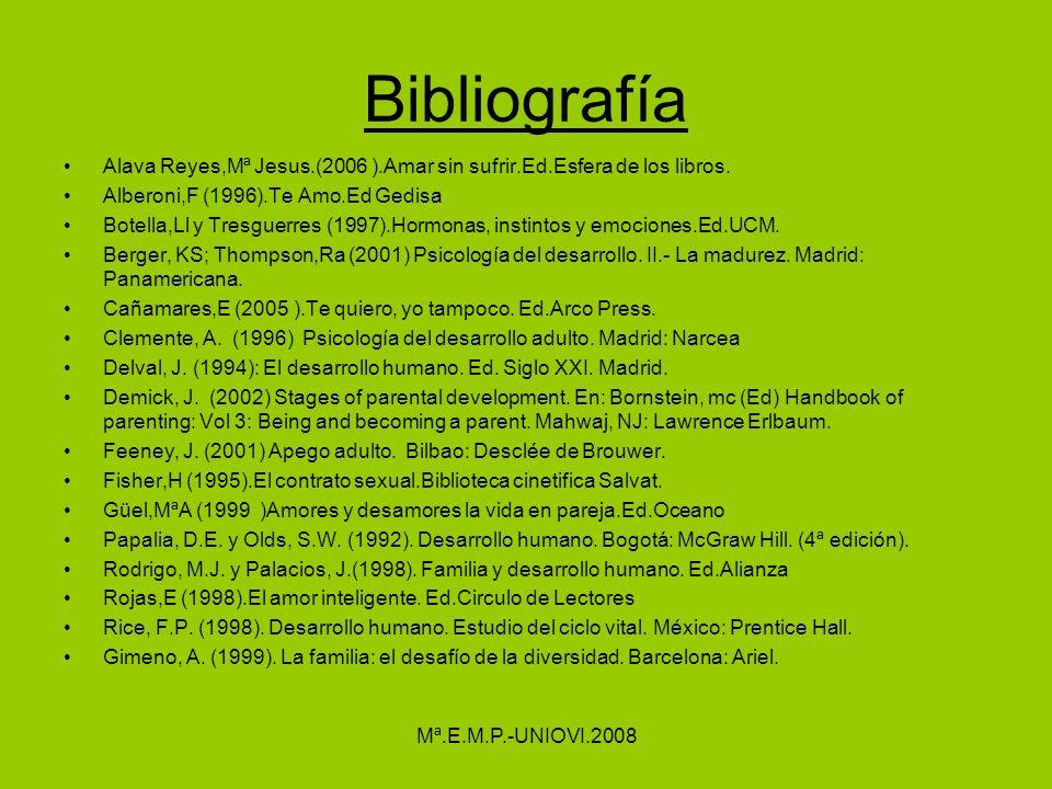 Bibliografía Alava Reyes,Mª Jesus.(2006 ).Amar sin sufrir.Ed.Esfera de los libros. Alberoni,F (1996).Te Amo.Ed Gedisa Botella,Ll y Tresguerres (1997).