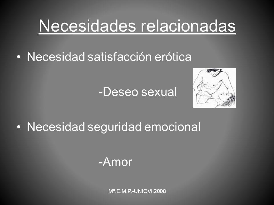 Necesidades relacionadas Necesidad satisfacción erótica -Deseo sexual Necesidad seguridad emocional -Amor Mª.E.M.P.-UNIOVI.2008