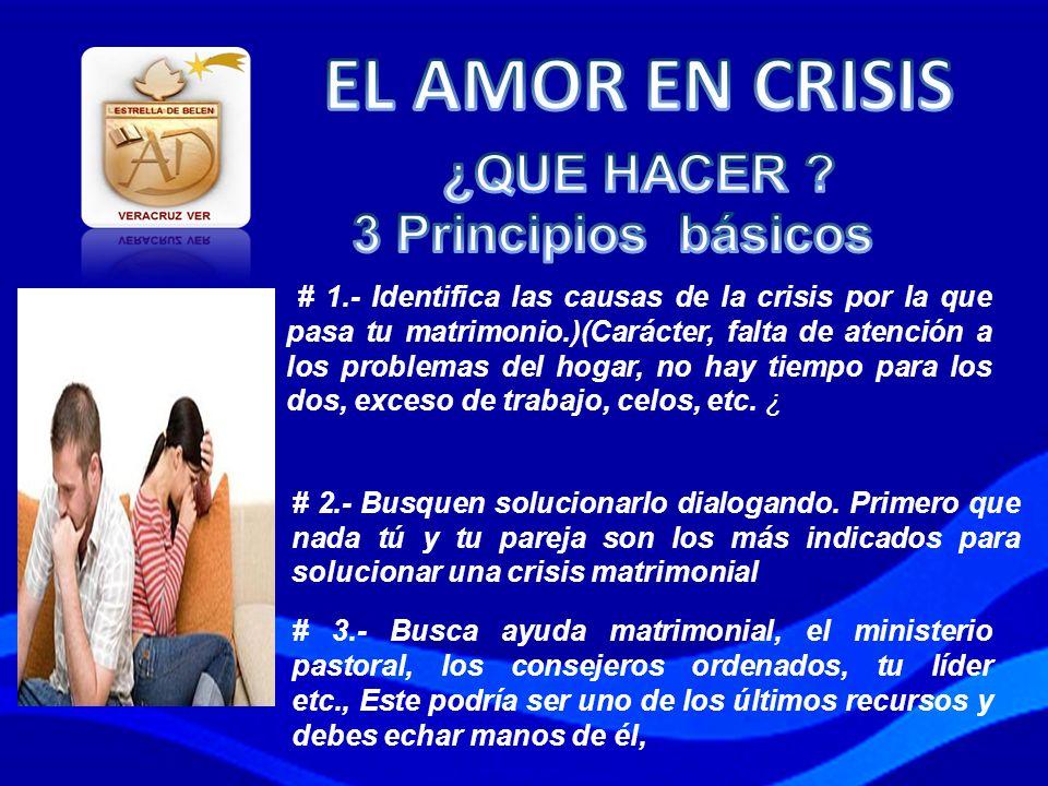 # 1.- Identifica las causas de la crisis por la que pasa tu matrimonio.)(Carácter, falta de atención a los problemas del hogar, no hay tiempo para los