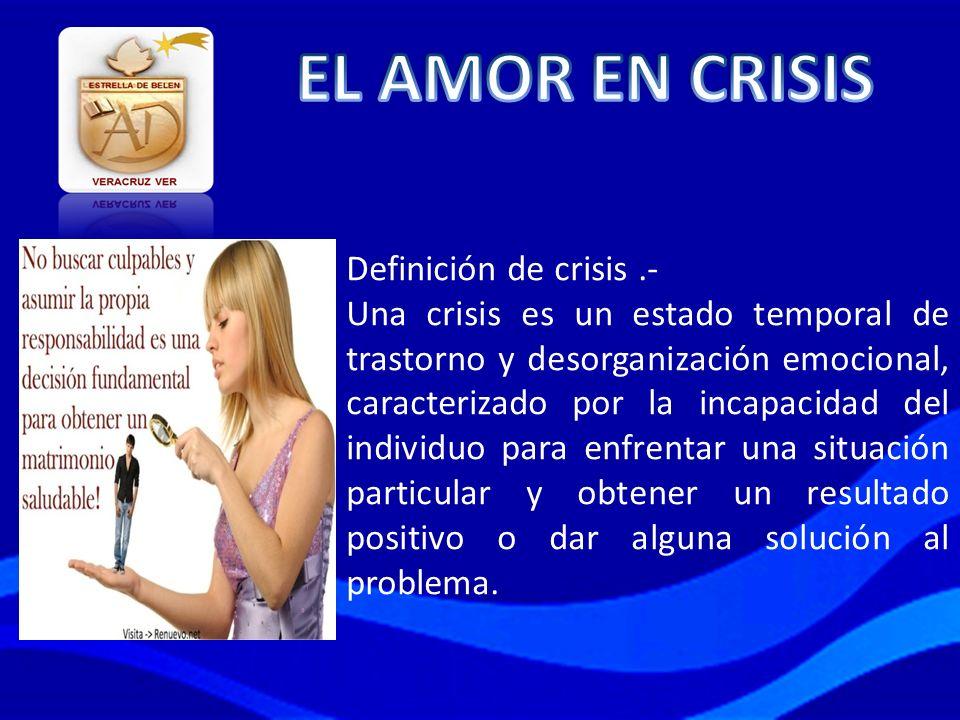 Definición de crisis.- Una crisis es un estado temporal de trastorno y desorganización emocional, caracterizado por la incapacidad del individuo para