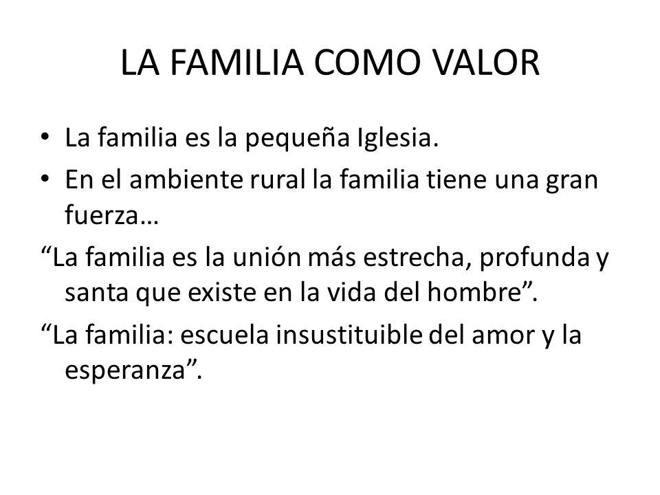 LA FAMILIA COMO VALOR La familia es la pequeña Iglesia. En el ambiente rural la familia tiene una gran fuerza… La familia es la unión más estrecha, pr