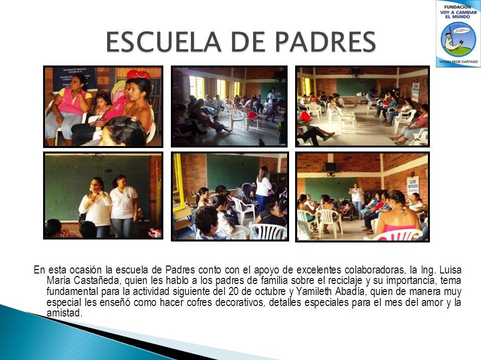 En esta ocasión la escuela de Padres conto con el apoyo de excelentes colaboradoras, la Ing. Luisa María Castañeda, quien les hablo a los padres de fa