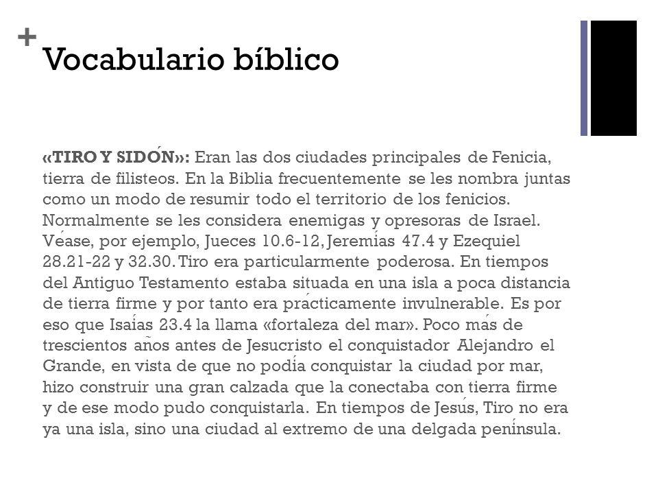 + Vocabulario bíblico «TIRO Y SIDON»: Eran las dos ciudades principales de Fenicia, tierra de filisteos. En la Biblia frecuentemente se les nombra jun