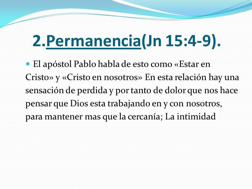 2.Permanencia(Jn 15:4-9). El apóstol Pablo habla de esto como «Estar en Cristo» y «Cristo en nosotros» En esta relación hay una sensación de perdida y
