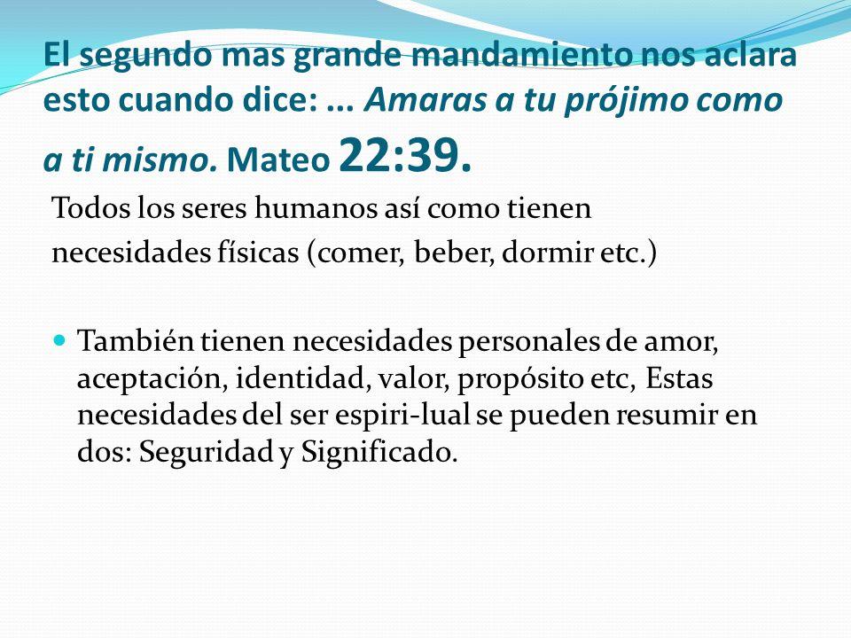 El segundo mas grande mandamiento nos aclara esto cuando dice:... Amaras a tu prójimo como a ti mismo. Mateo 22:39. Todos los seres humanos así como t
