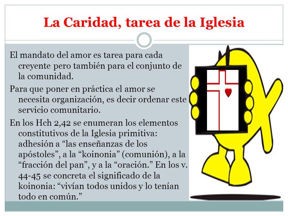 La Caridad, tarea de la Iglesia El mandato del amor es tarea para cada creyente pero también para el conjunto de la comunidad. Para que poner en práct