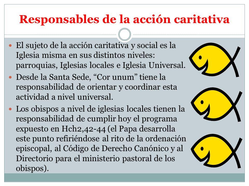 Responsables de la acción caritativa El sujeto de la acción caritativa y social es la Iglesia misma en sus distintos niveles: parroquias, Iglesias loc