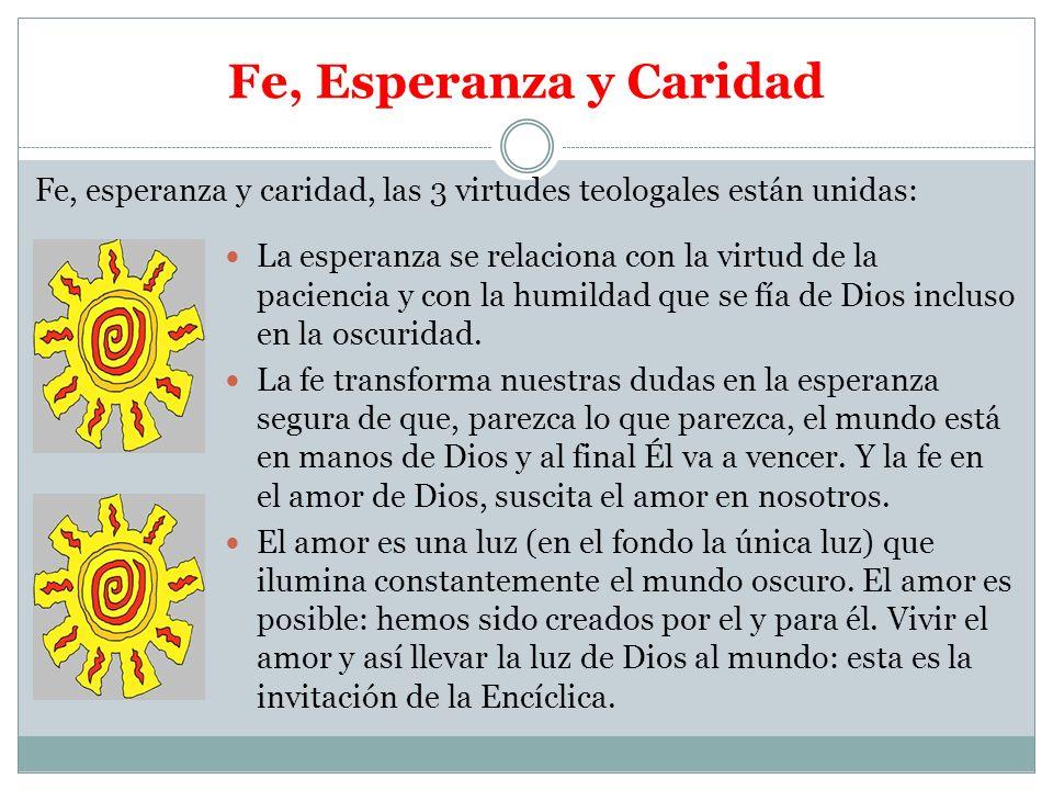 Fe, Esperanza y Caridad La esperanza se relaciona con la virtud de la paciencia y con la humildad que se fía de Dios incluso en la oscuridad. La fe tr