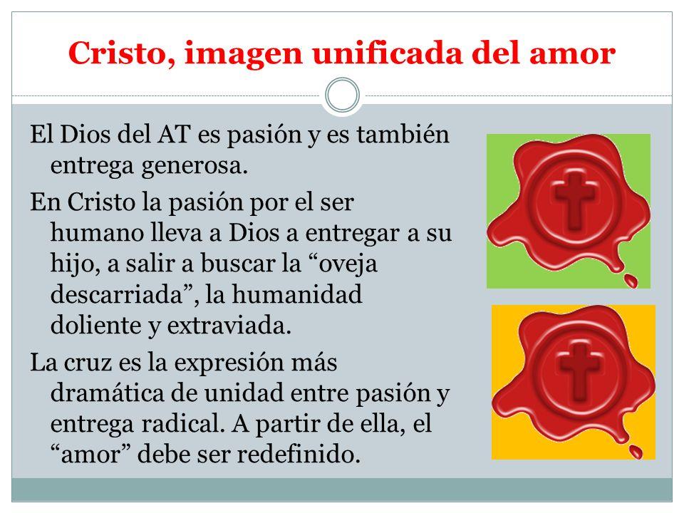 Cristo, imagen unificada del amor El Dios del AT es pasión y es también entrega generosa. En Cristo la pasión por el ser humano lleva a Dios a entrega