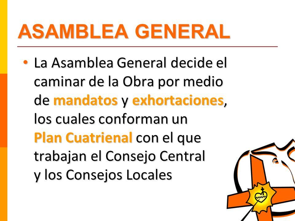 ASAMBLEA GENERAL La Asamblea General decide el caminar de la Obra por medio de mandatos y exhortaciones, los cuales conforman un Plan Cuatrienal con e