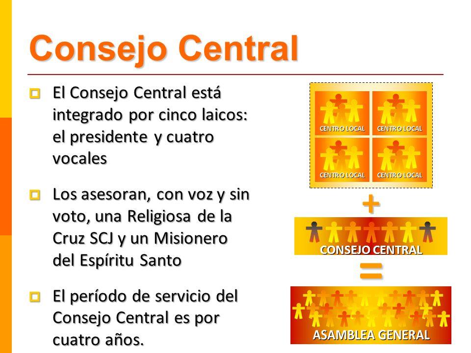 Consejo Central El Consejo Central está integrado por cinco laicos: el presidente y cuatro vocales El Consejo Central está integrado por cinco laicos:
