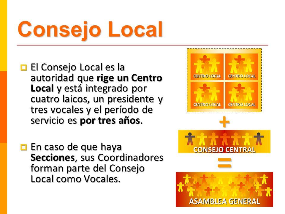 El Consejo Local es la autoridad que rige un Centro Local y está integrado por cuatro laicos, un presidente y tres vocales y el período de servicio es