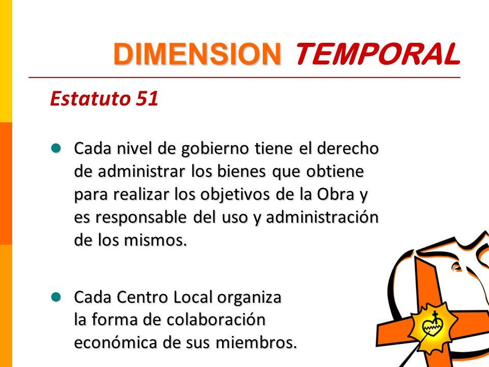 Estatuto 51 Cada nivel de gobierno tiene el derecho de administrar los bienes que obtiene para realizar los objetivos de la Obra y es responsable del