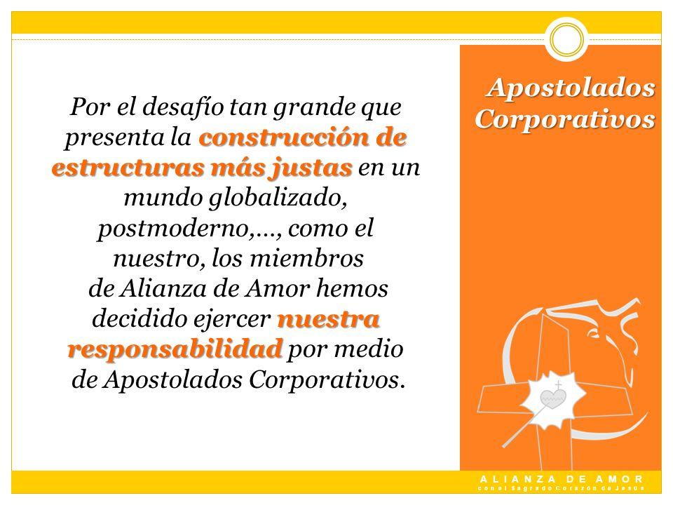 A L I A N Z A D E A M O R c o n e l S a g r a d o C o r a z ó n d e J e s ú s Apostolados Corporativos construcción de estructuras más justas nuestra