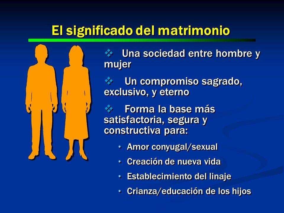 El significado del matrimonio Una sociedad entre hombre y mujer Un compromiso sagrado, exclusivo, y eterno Forma la base más satisfactoria, segura y c