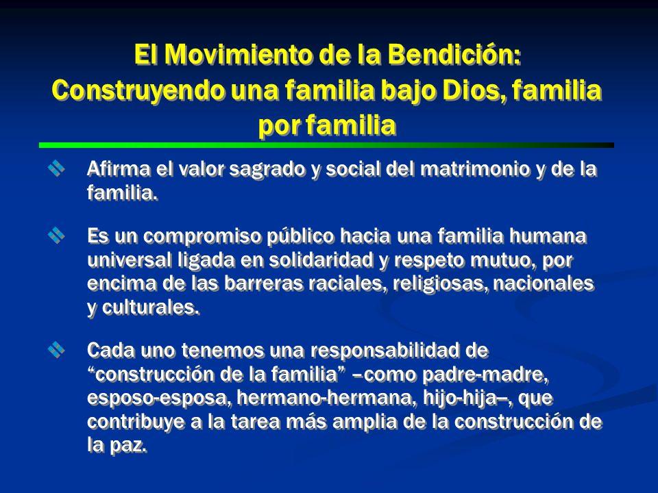 El Movimiento de la Bendición: Construyendo una familia bajo Dios, familia por familia Afirma el valor sagrado y social del matrimonio y de la familia