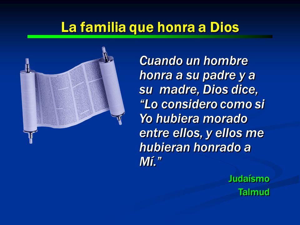 Cuando un hombre honra a su padre y a su madre, Dios dice, Lo considero como si Yo hubiera morado entre ellos, y ellos me hubieran honrado a Mí. Judaí
