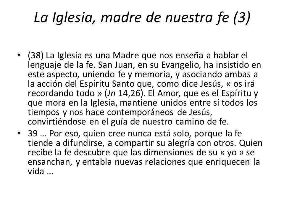 La Iglesia, madre de nuestra fe (3) (38) La Iglesia es una Madre que nos enseña a hablar el lenguaje de la fe. San Juan, en su Evangelio, ha insistido