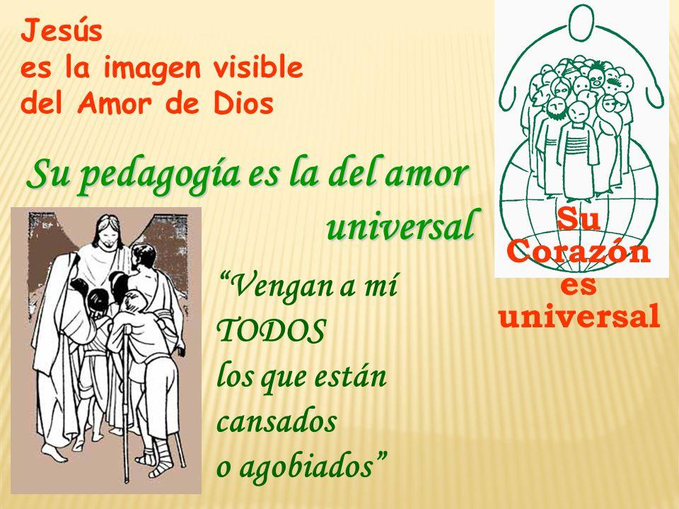 Jesús es la imagen visible del Amor de Dios Su Corazón es universal Vengan a mí TODOS los que están cansados o agobiados Su pedagogía es la del amor u