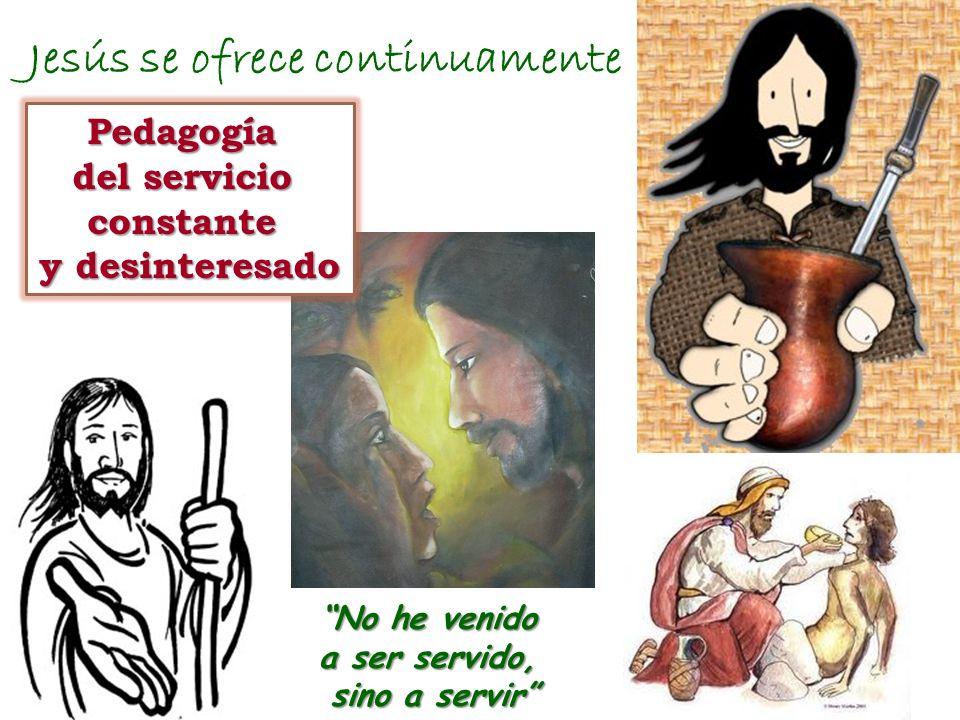 Jesús se ofrece continuamente Pedagogía del servicio constante y desinteresado No he venido a ser servido, sino a servir