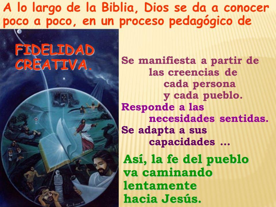 A lo largo de la Biblia, Dios se da a conocer poco a poco, en un proceso pedagógico de FIDELIDAD FIDELIDAD CREATIVA CREATIVA.Así, la fe del pueblo va