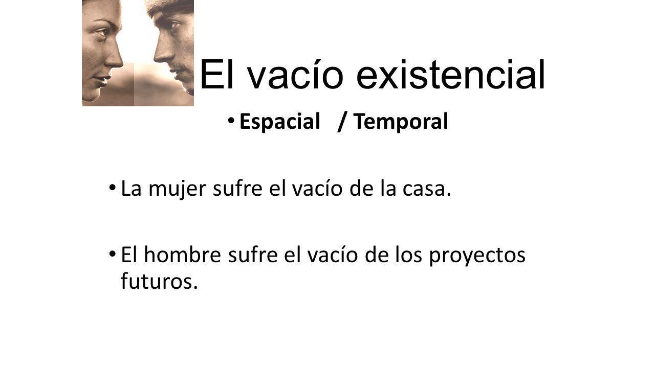 El vacío existencial Espacial / Temporal La mujer sufre el vacío de la casa. El hombre sufre el vacío de los proyectos futuros.