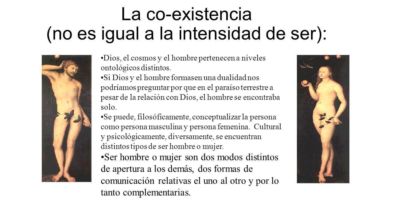 La co-existencia (no es igual a la intensidad de ser): Dios, el cosmos y el hombre pertenecen a niveles ontológicos distintos. Si Dios y el hombre for