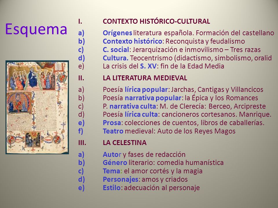 I.CONTEXTO HISTÓRICO-CULTURAL a)Orígenes literatura española. Formación del castellano b)Contexto histórico: Reconquista y feudalismo c)C. social: Jer