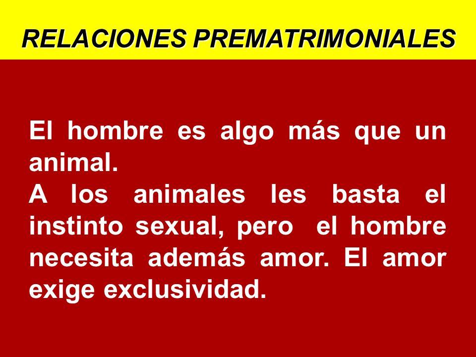 RELACIONES PREMATRIMONIALES El hombre es algo más que un animal. A los animales les basta el instinto sexual, pero el hombre necesita además amor. El