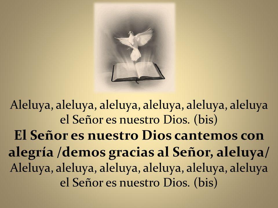 Aleluya, aleluya, aleluya, aleluya, aleluya, aleluya el Señor es nuestro Dios. (bis) El Señor es nuestro Dios cantemos con alegría /demos gracias al S