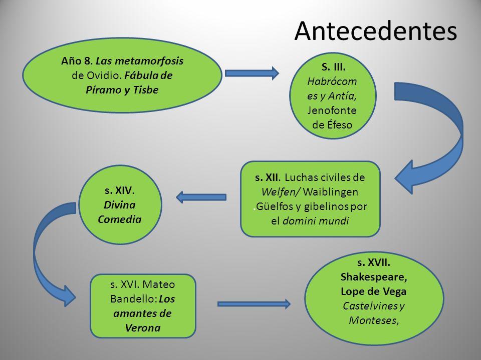 Antecedentes S. III. Habrócom es y Antía, Jenofonte de Éfeso Año 8. Las metamorfosis de Ovidio. Fábula de Píramo y Tisbe s. XII. Luchas civiles de Wel