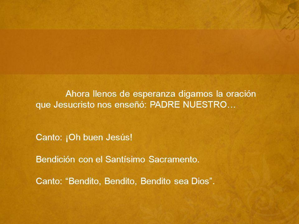 Ahora llenos de esperanza digamos la oración que Jesucristo nos enseñó: PADRE NUESTRO… Canto: ¡Oh buen Jesús.
