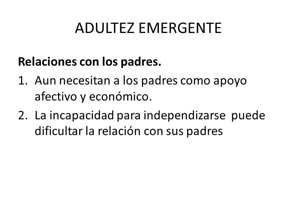 ADULTEZ EMERGENTE Relaciones con los padres. 1.Aun necesitan a los padres como apoyo afectivo y económico. 2.La incapacidad para independizarse puede