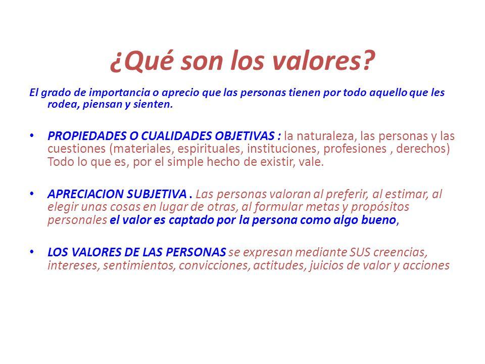 ¿Qué son los valores? El grado de importancia o aprecio que las personas tienen por todo aquello que les rodea, piensan y sienten. PROPIEDADES O CUALI