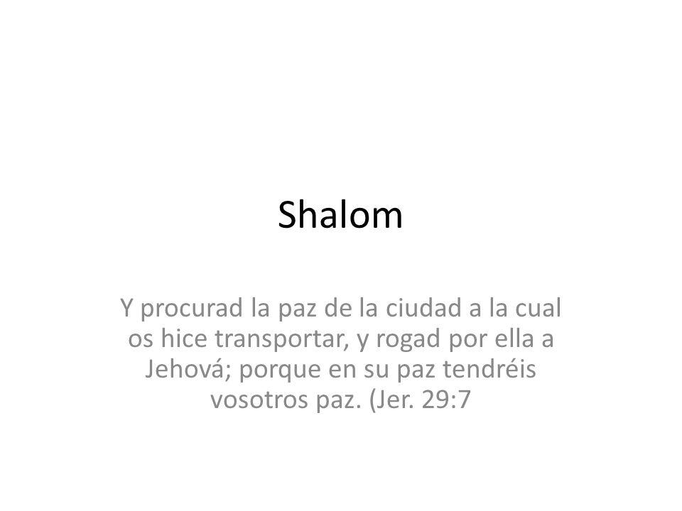 Shalom Y procurad la paz de la ciudad a la cual os hice transportar, y rogad por ella a Jehová; porque en su paz tendréis vosotros paz. (Jer. 29:7