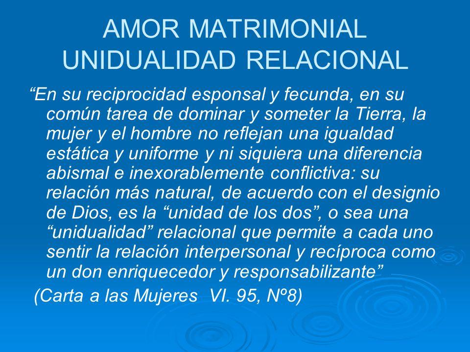 AMOR MATRIMONIAL UNIDUALIDAD RELACIONAL En su reciprocidad esponsal y fecunda, en su común tarea de dominar y someter la Tierra, la mujer y el hombre no reflejan una igualdad estática y uniforme y ni siquiera una diferencia abismal e inexorablemente conflictiva: su relación más natural, de acuerdo con el designio de Dios, es la unidad de los dos, o sea una unidualidad relacional que permite a cada uno sentir la relación interpersonal y recíproca como un don enriquecedor y responsabilizante (Carta a las Mujeres VI.