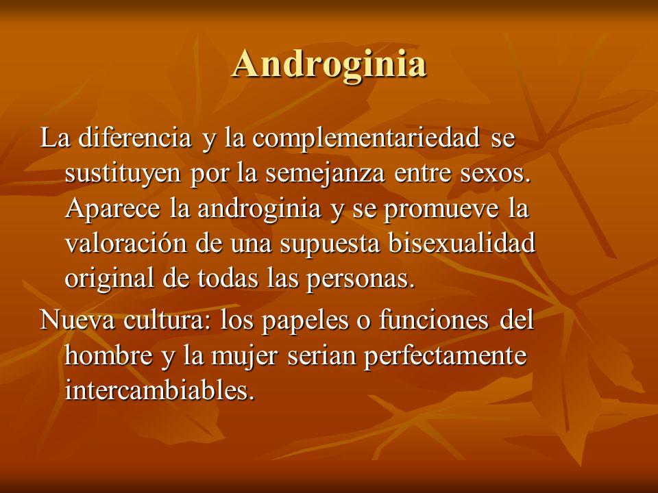 Androginia La diferencia y la complementariedad se sustituyen por la semejanza entre sexos. Aparece la androginia y se promueve la valoración de una s