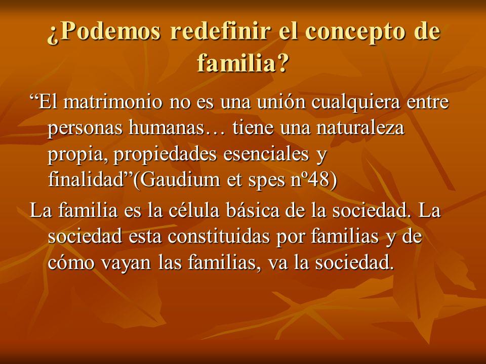 ¿Podemos redefinir el concepto de familia? El matrimonio no es una unión cualquiera entre personas humanas… tiene una naturaleza propia, propiedades e