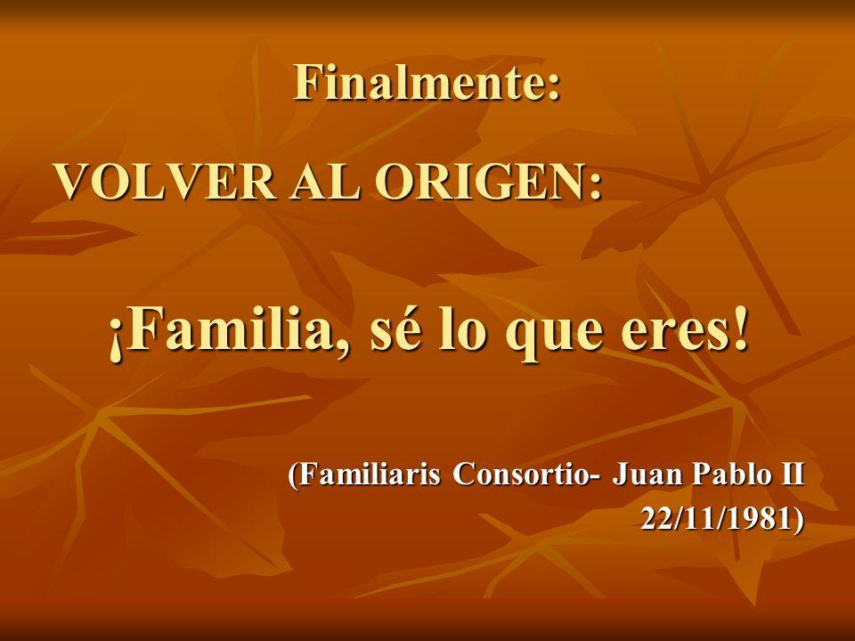 Finalmente: VOLVER AL ORIGEN: ¡Familia, sé lo que eres! (Familiaris Consortio- Juan Pablo II 22/11/1981)