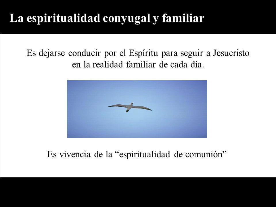 La espiritualidad conyugal y familiar Es vivencia de la espiritualidad de comunión Es dejarse conducir por el Espíritu para seguir a Jesucristo en la