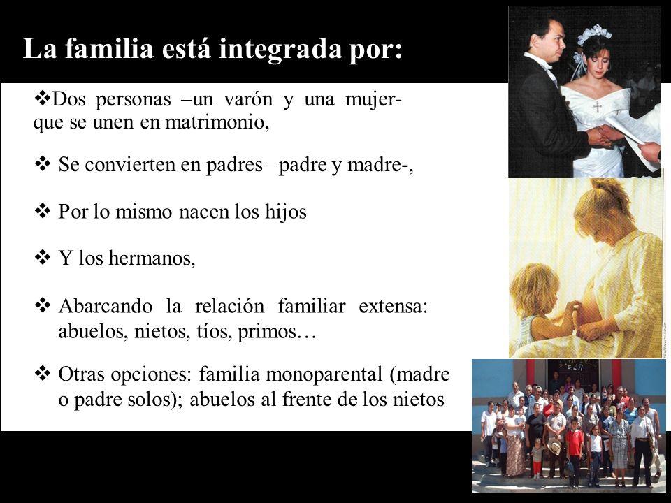 La familia está integrada por: Dos personas –un varón y una mujer- que se unen en matrimonio, Se convierten en padres –padre y madre-, Otras opciones: