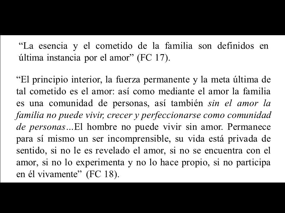 La esencia y el cometido de la familia son definidos en última instancia por el amor (FC 17). El principio interior, la fuerza permanente y la meta úl