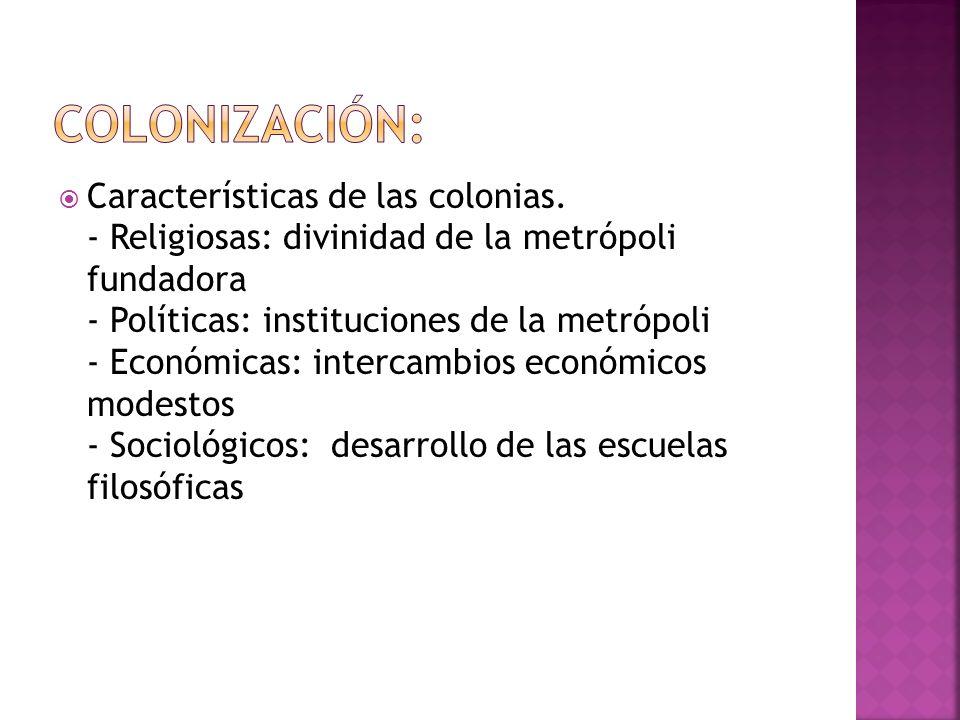 Características de las colonias.
