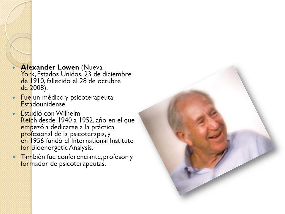 El Análisis Bioenergético Alexander Lowen cursó primero estudios de derecho en la Brooklyn Law School y posteriormente estudios de medicina en la Universidad de Ginebra donde se doctoró en Medicina en 1951.