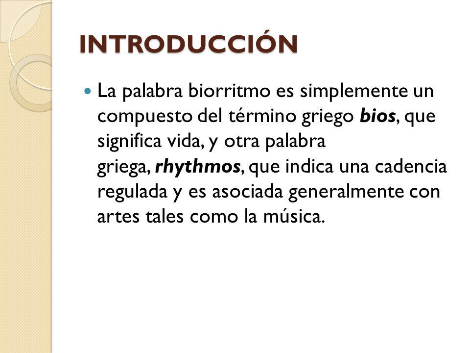 INTRODUCCIÓN La palabra biorritmo es simplemente un compuesto del término griego bios, que significa vida, y otra palabra griega, rhythmos, que indica