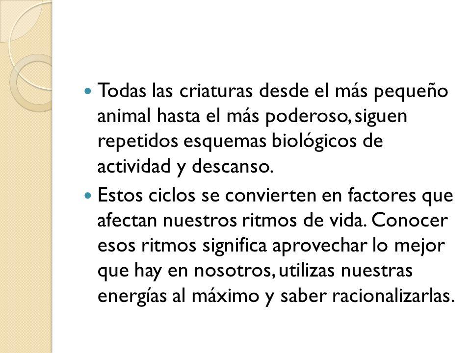 Todas las criaturas desde el más pequeño animal hasta el más poderoso, siguen repetidos esquemas biológicos de actividad y descanso. Estos ciclos se c