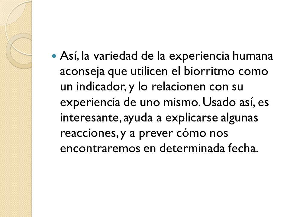 Así, la variedad de la experiencia humana aconseja que utilicen el biorritmo como un indicador, y lo relacionen con su experiencia de uno mismo. Usado