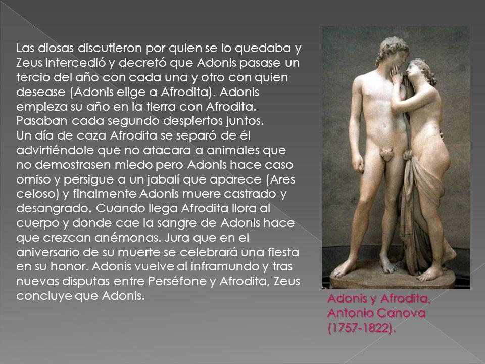 Las diosas discutieron por quien se lo quedaba y Zeus intercedió y decretó que Adonis pasase un tercio del año con cada una y otro con quien desease (