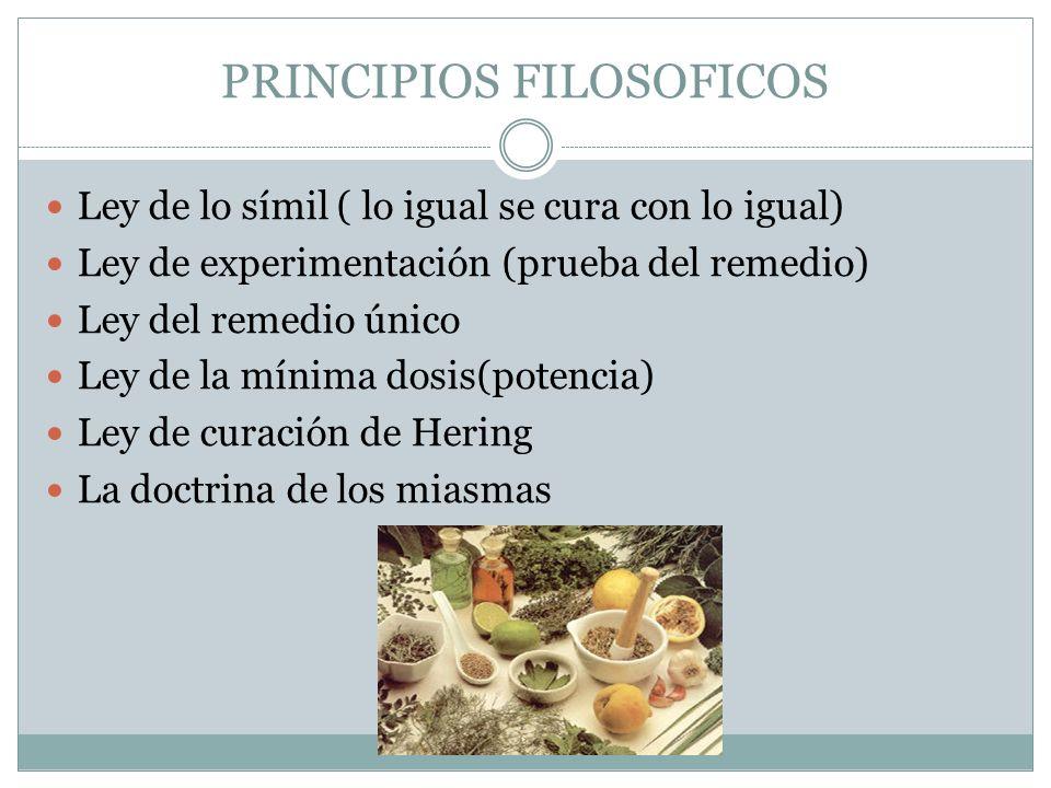 PRINCIPIOS FILOSOFICOS Ley de lo símil ( lo igual se cura con lo igual) Ley de experimentación (prueba del remedio) Ley del remedio único Ley de la mí
