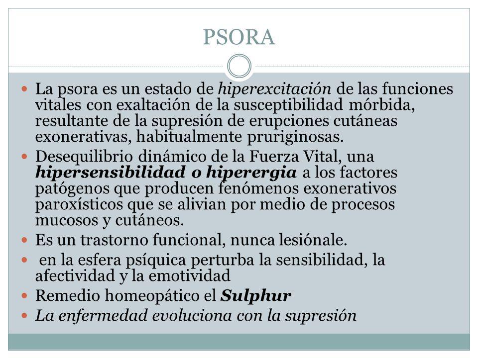 PSORA La psora es un estado de hiperexcitación de las funciones vitales con exaltación de la susceptibilidad mórbida, resultante de la supresión de er